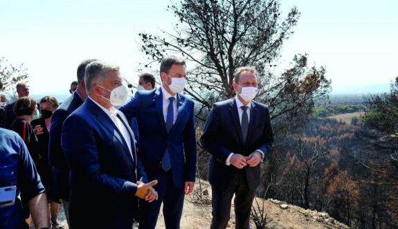 Slovakya Başbakanı Yunanistan'daki yangın bölgesini ziyaret etti